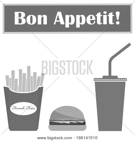 Hamburger, Cola And French Fries In Gray. Fast Food