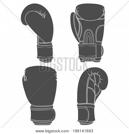 Set of illustrations with boxing gloves. Isolated vector objects on white background.