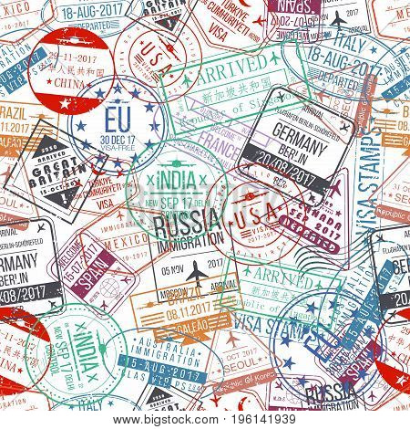 Passport stamp seamless pattern. International arrivals sign rubber visa stamps. Vector