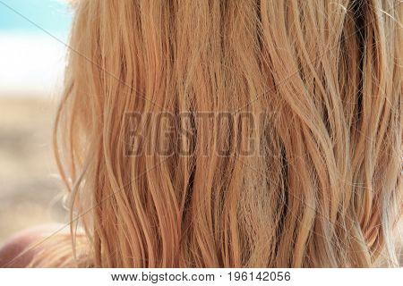 Long blue wet hair