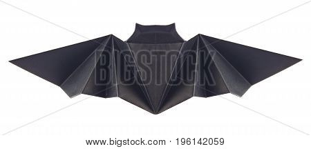 Black bat of origami, isolated on white background.