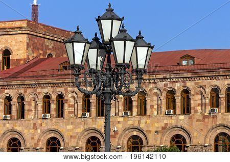 Beautiful building and lantern in the center of Yerevan,Armenia.