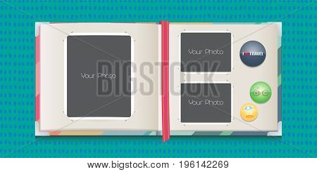 Photo frames collage or scrapbook vector illustration. Template for travel or outdoor photo album