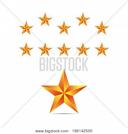 Set of gold stars. Gold stars on a white background for your ideas and business. Vector.
