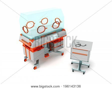 Incubator For Children Orange With Bedside Table 3D Render On White Background