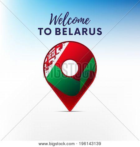Flag of Belarus in shape of map pointer or marker. Welcome to Belarus. Vector illustration.