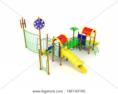 Playground Slide For Children Red Yellow 3D Render On White Background