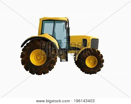 Tractor Yellow 3D Render On White Background No Shadow