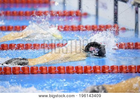 Rio de Janeiro Brazil - august 13 2016: JAEGER Connor (USA) during men's 1500 metre swimming freestyle of the Rio 2016 Olympics Games Rio 2016
