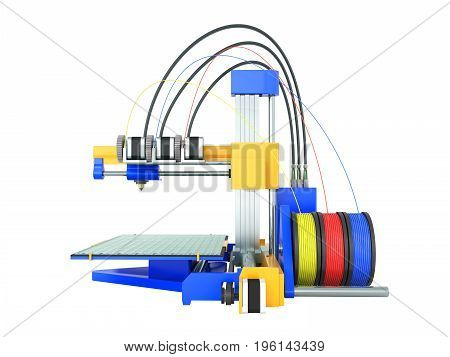 3D Printer Yellow Blue Front 3D Render On White Background No Shadow