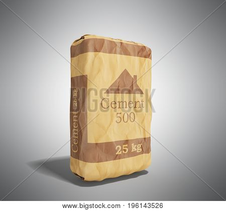 Cement Bag On Grey Background 3D Rendering Image