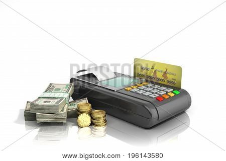 Credit Card Trminal Machine 3D Rendering On White No Shadow