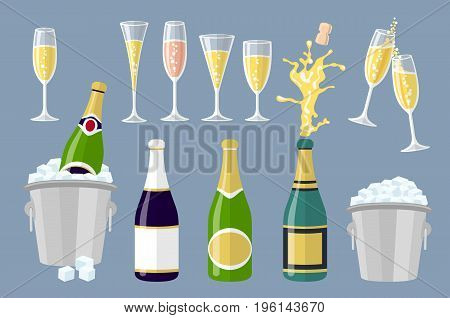Champagne bottle and glasses set of cartoon vector illustrations isolated on white background. Closed and open champagne bottle and glasses holiday toast cork jumping out with explosion art