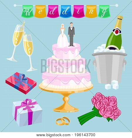 set Wedding cake with couple vector. Newlyweds glasses champagne gifts roses flowers rings inscription flags streaming art