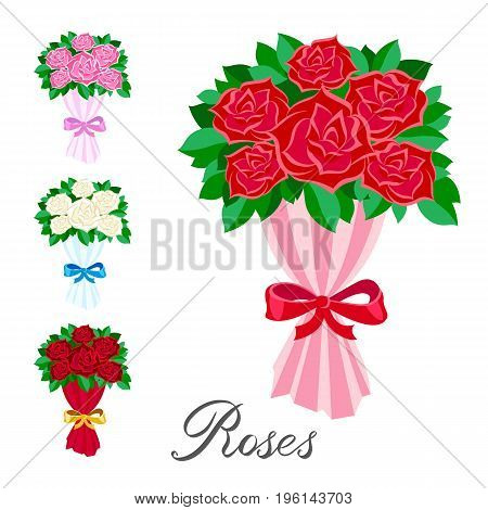 vector elements set A bouquet of red pink white and scarlet roses flat. Handwritten inscription rose art