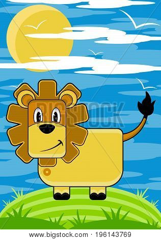 Cute Cartoon Lion the King of the Jungle