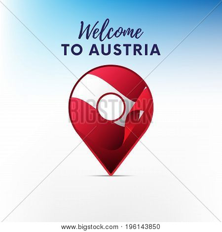 Flag of Austria in shape of map pointer or marker. Welcome to Austria. Vector illustration.