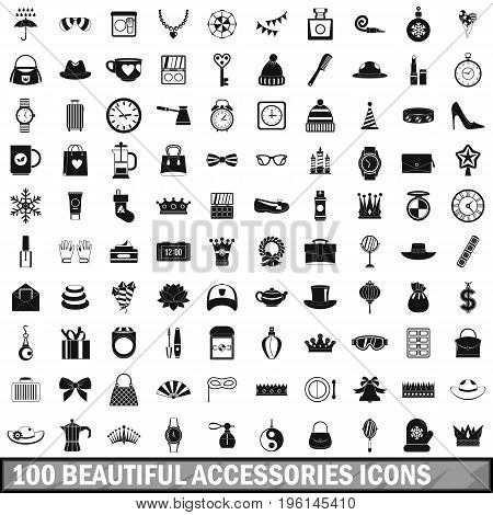 100 beautiful accessories icons set in simple style for any design vector illustration