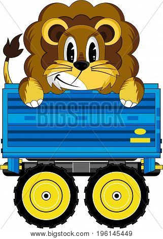 Cute Cartoon Lion the King of the Jungle in Tractor trailer