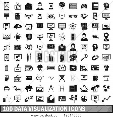 100 data visualization icons set in simple style for any design vector illustration