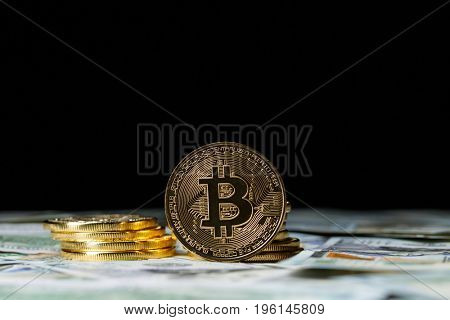 Cryptocurrency physical bitcoin coins.