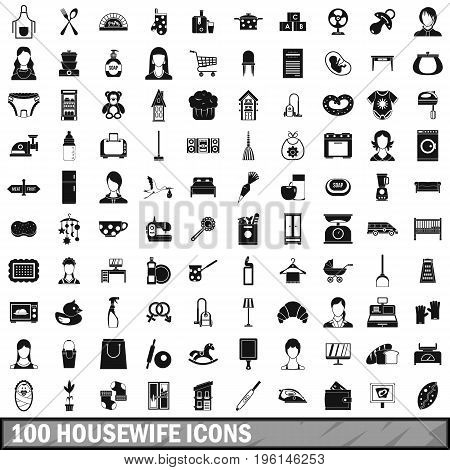 100 housewife icons set in simple style for any design vector illustration
