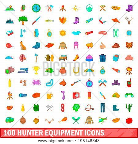 100 hunter equipment icons set in cartoon style for any design illustration