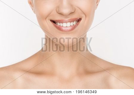 Cropped View Of Smiling Naked Woman With Perfect Skin Isolated On White