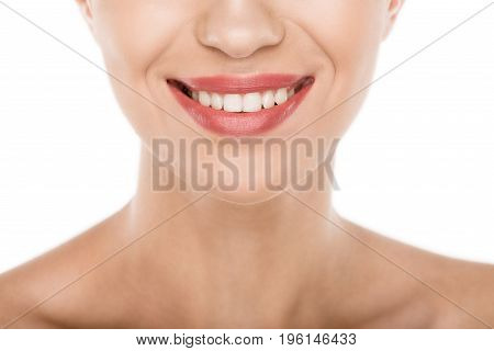 Cropped View Of Beautiful Smiling Woman With Perfect Skin, Isolated On White