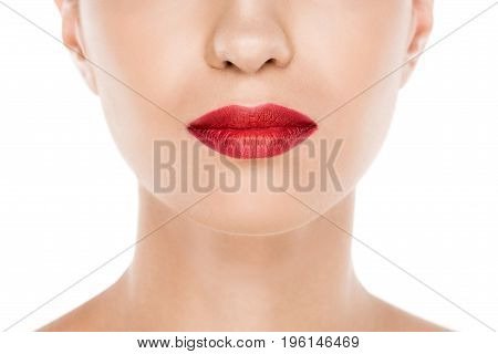 Cropped View Of Beautiful Woman With Perfect Skin And Red Lips, Isolated On White