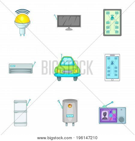 Smart home devices icons set. Cartoon set of 9 smart home devices vector icons for web isolated on white background