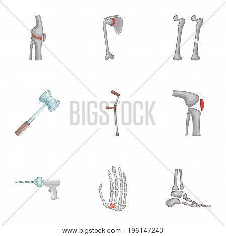 Prosthetics icons set. Cartoon set of 9 prosthetics vector icons for web isolated on white background
