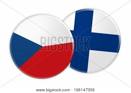 News Concept: Czech Republic Flag Button On Finland Flag Button 3d illustration on white background