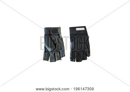 Leather gloves isolated on white background-with clipping path.