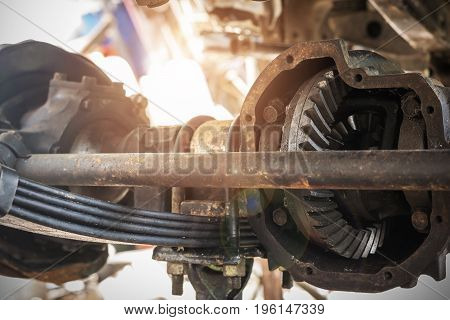 Closeup of the inside of the drive shaft of the car-Automotive industry and garage concepts.