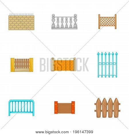 Architecture fences icons set. Cartoon set of 9 architecture fences vector icons for web isolated on white background