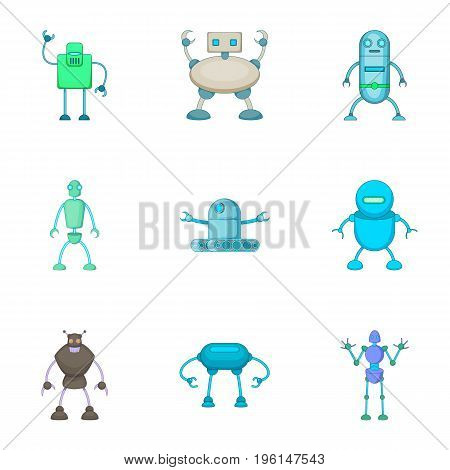 Robots assistants icons set. Cartoon set of 9 robots assistants vector icons for web isolated on white background