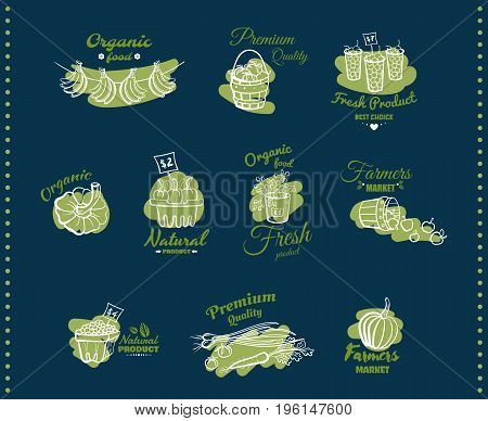 Vector illustration of different emblems of organic natural fresh products