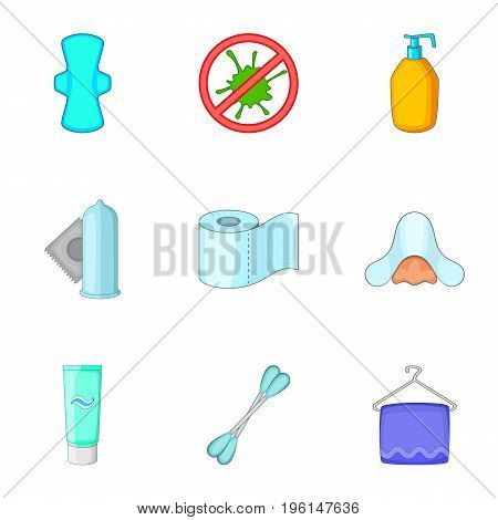 Hygiene items icons set. Cartoon set of 9 hygiene items vector icons for web isolated on white background