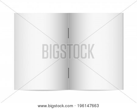 Vector mock up of booklet isolated. Closed vertical magazine brochure or notebook template on white background.