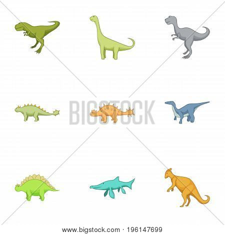 First dinosaur icons set. Cartoon set of 9 first dinosaur vector icons for web isolated on white background