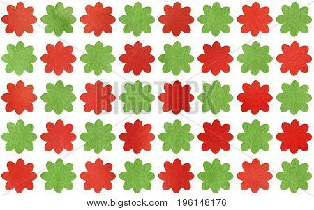 Watercolor Red And Green Flowers.