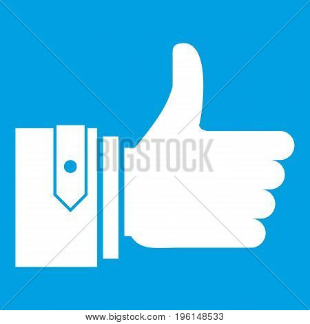 Thumbs up icon white isolated on blue background vector illustration