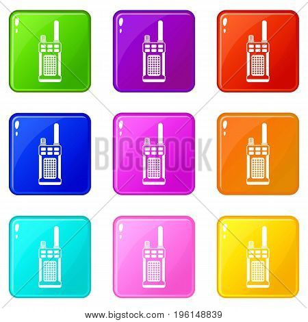 Portable handheld radio icons of 9 color set isolated vector illustration
