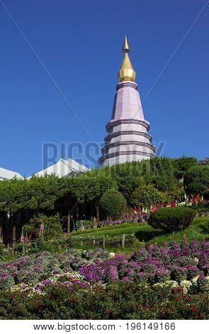 Pagoda with garden at Doi Inthanon national park Chiang Mai Thailand