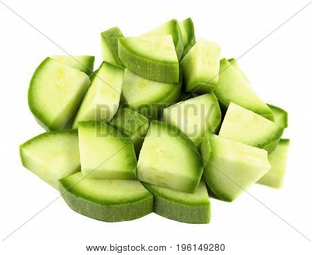 Sliced zucchini isolated on white background top view