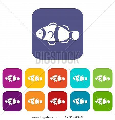 Cute clown fish icons set vector illustration in flat style in colors red, blue, green, and other