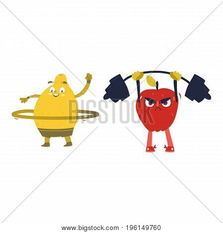 Funny fruits, apple and lemon characters, working out, doing sport exercises, cartoon vector illustration isolated on white background. Funny fruit, apple and lemon characters, heroes doing sport