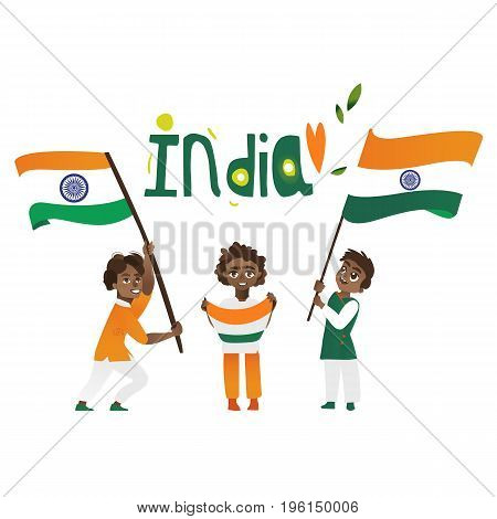 Set of Indian people holding and waving Indian flags, cartoon vector illustration isolated on white background. Indian people with their national tricolor flags, big and small