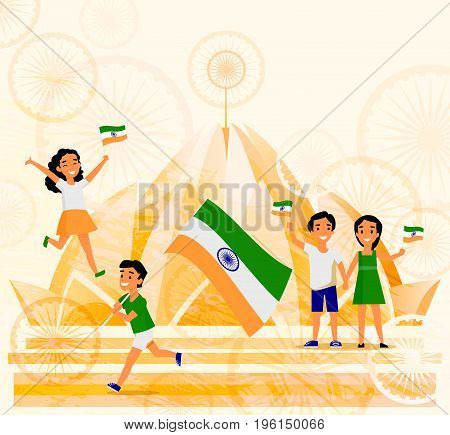 Indian people, man, woman, kids, holding Indian flags with Delhi Lotus temple in the background, cartoon vector illustration. People with Indian flags, Lotus Temple, India postcard, banner template